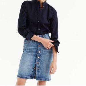 J. Crew Button-front denim skirt
